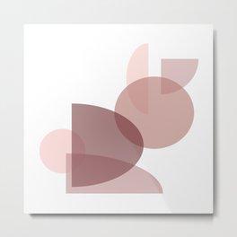 Mid Century Modern Geometric Abstract Pink Rabbit Metal Print