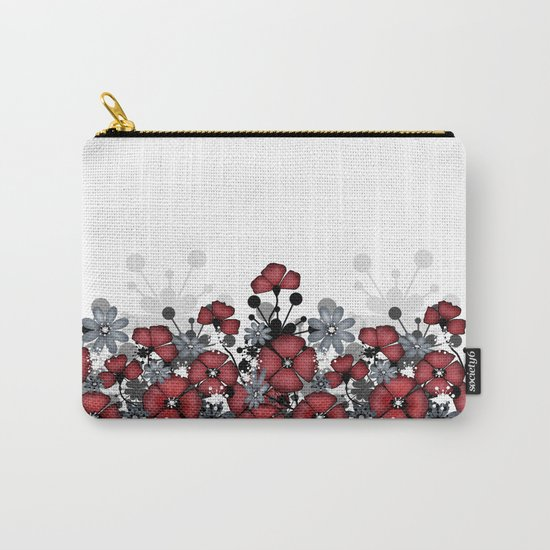 Red flowers on a white background . Carry-All Pouch