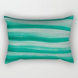 Green Brush Strokes Rectangular Pillow