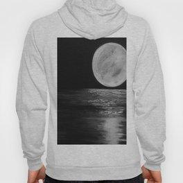 Moonlit. Sunset, water, moon, full moon, orginal painting by Jodilynpaintings. Black and white Hoody