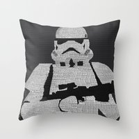stormtrooper Throw Pillows featuring Stormtrooper by  Steve Wade ( Swade)