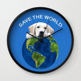 Save the world - Golden retriever and typography Wall Clock