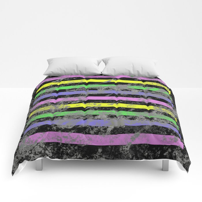 Linear Breakthrough - Abstract, geometric, textured artwork Comforters