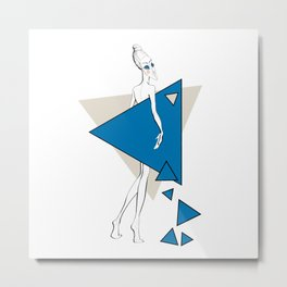 Paper doll with blue triangles Metal Print