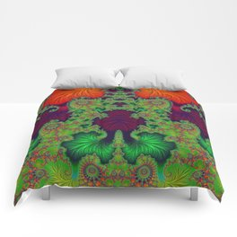Psychedelic Centrepiece - Mirrored Fractal Art Comforters