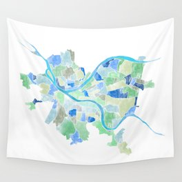 Pittsburgh Neighborhood Map Wall Tapestry