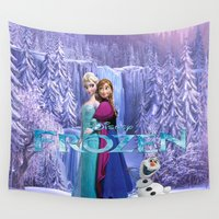 olaf Wall Tapestries featuring SET GIFT ELSA ANNA OLAF by store2u