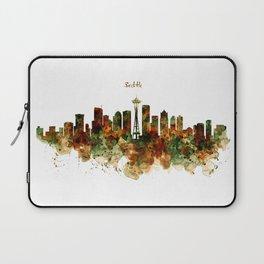 Seattle Watercolor Skyline Poster Laptop Sleeve