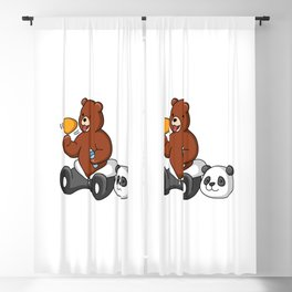 Funny Grizzly Bear Wears Panda Costume Blackout Curtain