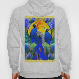 BLUE GREEN PEACOCK YELLOW BLUE ROSE FLORAL PATTERN Hoody