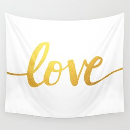 Love Gold Wall Tapestry