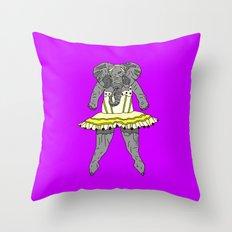 Elephant Ballerina - Yellow Purple Throw Pillow
