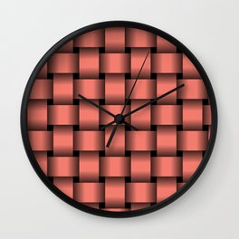 Large Salmon Pink Weave Wall Clock