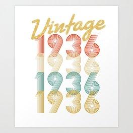 vintage retro since 1936 birthday gift Art Print