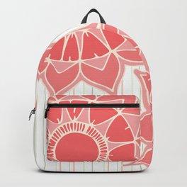 Pastel color coral pink floral mandala stripes Backpack