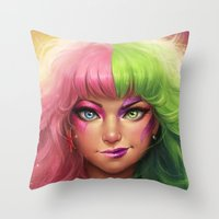 battlefield Throw Pillows featuring Battlefield  by Kate Laird