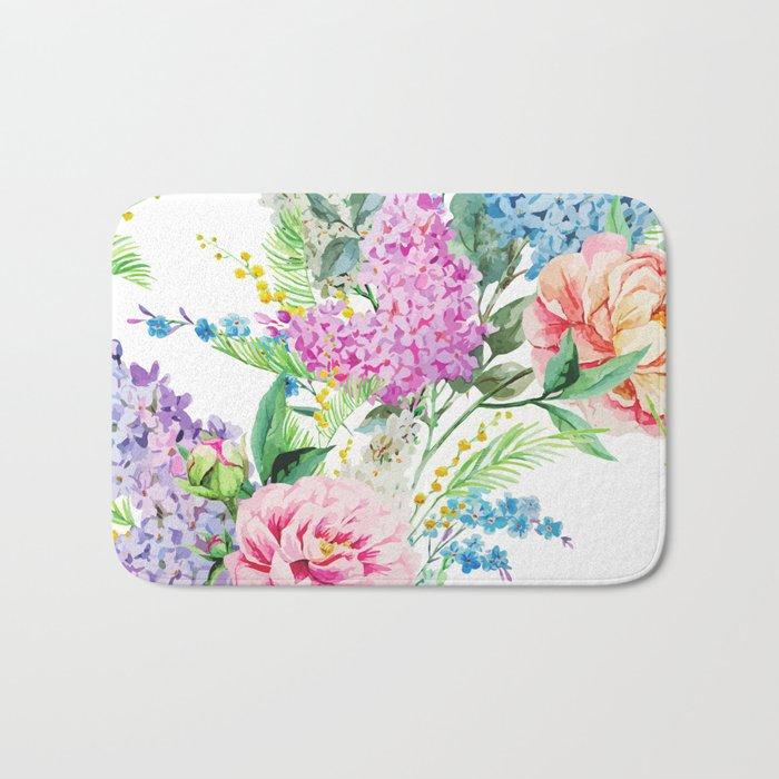 Vintage Shabby Chic Floral Watercolor Bouquet Bath Mat by ...
