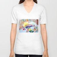 lemon V-neck T-shirts featuring Lemon by ARTION