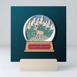 Merry Christmas Snowglobe Reindeer Mini Art Print