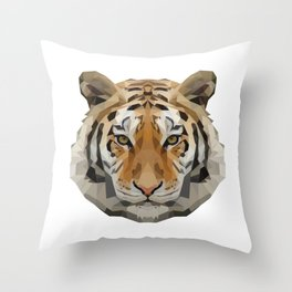 Geometrical Tiger Head Silhouette Throw Pillow