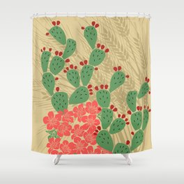 Locust Cider Cactus on Sand Shower Curtain