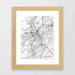 Birmingham Map, Alabama USA - Black & White Portrait Framed Art Print