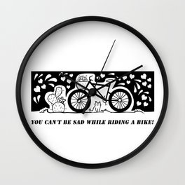 You can't be sad while riding a bike! Wall Clock