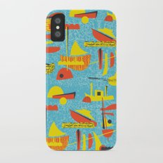 Abstract Boats inspired by midcentury 1950s design iPhone X Slim Case