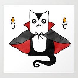 Vampire Cat – Dracula suit Art Print