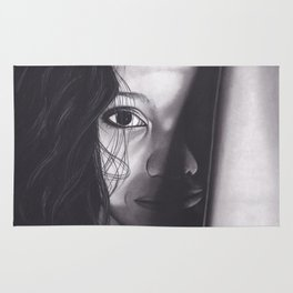 Realism Charcoal Drawing of Woman from Honduras Rug
