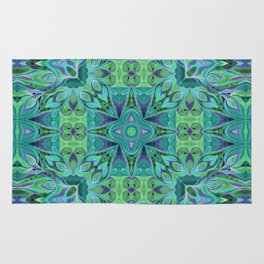 Turquoise abstract watercolor Rug