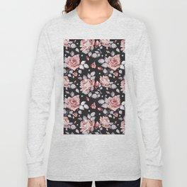 Vintage Pink Rose Flowers Long Sleeve T-shirt