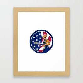 American Pizza Baker USA Flag Icon Framed Art Print