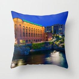 Along the Spokane River Throw Pillow