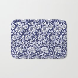"William Morris Floral Pattern | ""Pink and Rose"" in Navy Blue and White Bath Mat"