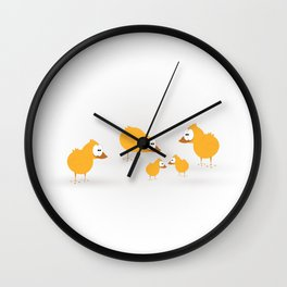 Cute holiday illustration with chikens for baby. Wall Clock