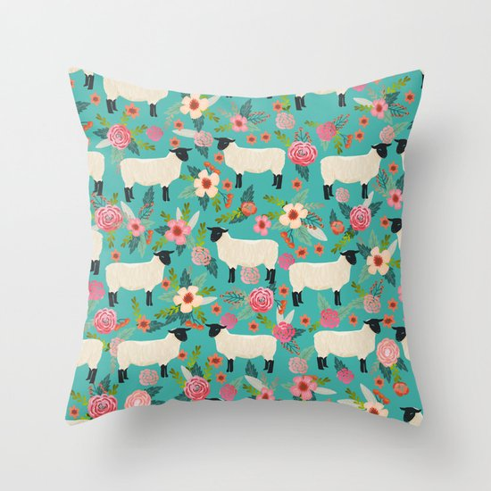 Farm Animal Throw Pillows : Sheep farm rescue sanctuary floral animal pattern nature lover vegan art Throw Pillow by ...