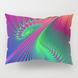Outburst Spiral Fractal neon colored Pillow Sham