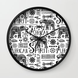 Africa Style Elephant Black And White Tribal Pattern Wall Clock
