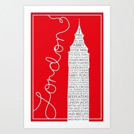 I MISS LONDON (Script) Art Print