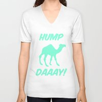 tiffany V-neck T-shirts featuring Hump Day Tiffany Camel by RexLambo