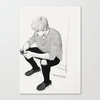 niall Canvas Prints featuring Niall Sketch by Coconut Wishes