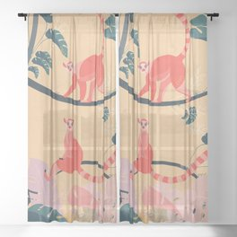 Lemurs in the jungle Sheer Curtain