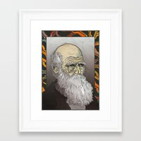 darwin Framed Art Prints featuring Darwin by The Dead Sea Society