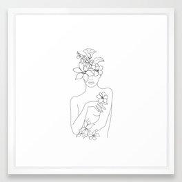 Minimal Line Art Woman with Flowers IV Framed Art Print