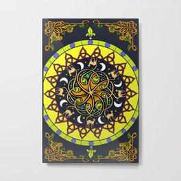 Celtic Cat Mandala Metal Print