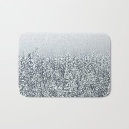 snow  forest winter trees Bath Mat