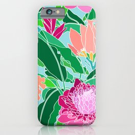 Bird of Paradise + Ginger Tropical Floral in Blue iPhone Case