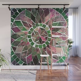 Pink & Green Stone Flower Wall Mural