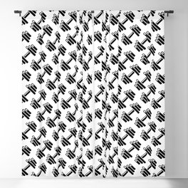 Dumbbellicious / Black and white dumbbell pattern Blackout Curtain